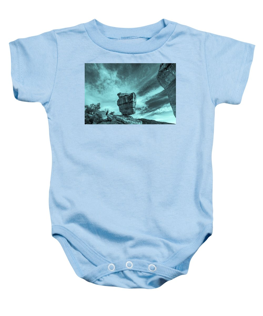 Balanced Rock Baby Onesie featuring the photograph The Sky Seemed To Be Imperturbable At First. by Bijan Pirnia