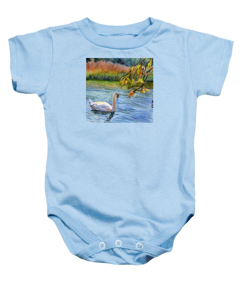 Swan Baby Onesie featuring the painting The Swan by Katherine Berlin