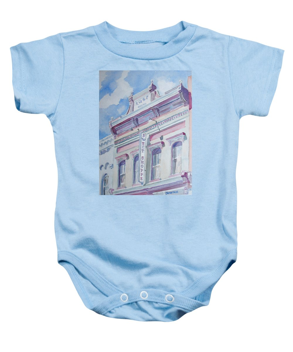 Shop Baby Onesie featuring the painting The Sweet Shoppe by Jenny Armitage