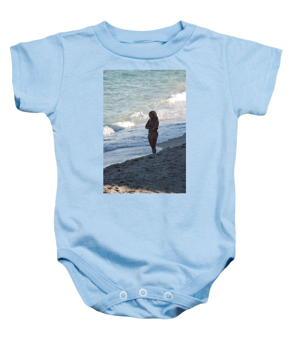 Sea Scape Baby Onesie featuring the photograph The Thinking Women by Rob Hans