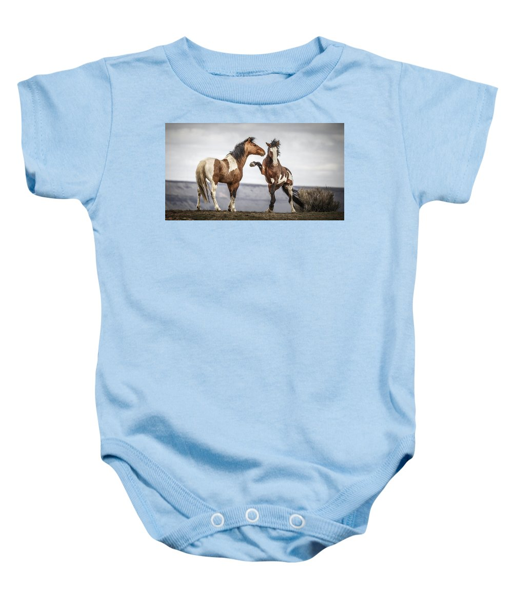 The Threat Baby Onesie featuring the photograph The Threat by Wes and Dotty Weber