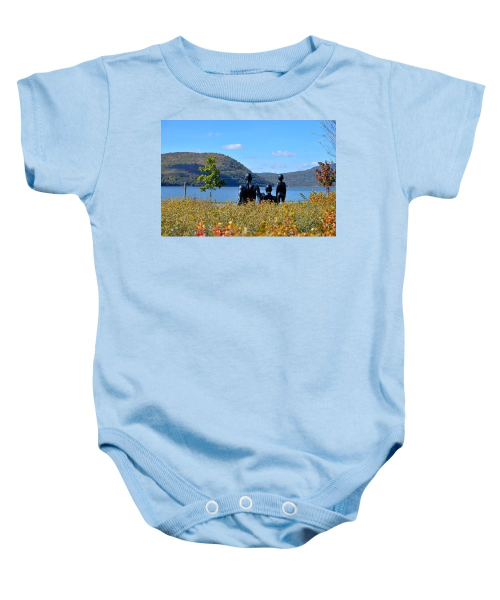The Tides Baby Onesie featuring the photograph The Tides And The Hudson by Kurt Von Dietsch