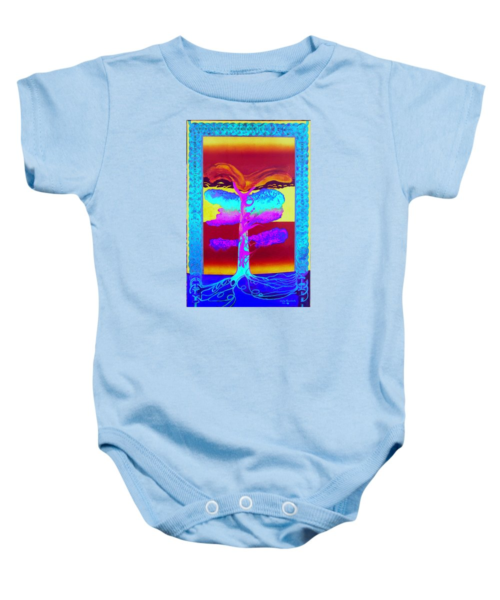 Myth/landscape Baby Onesie featuring the painting The Tree Of Life. Norse Mythology. by Jarle Rosseland