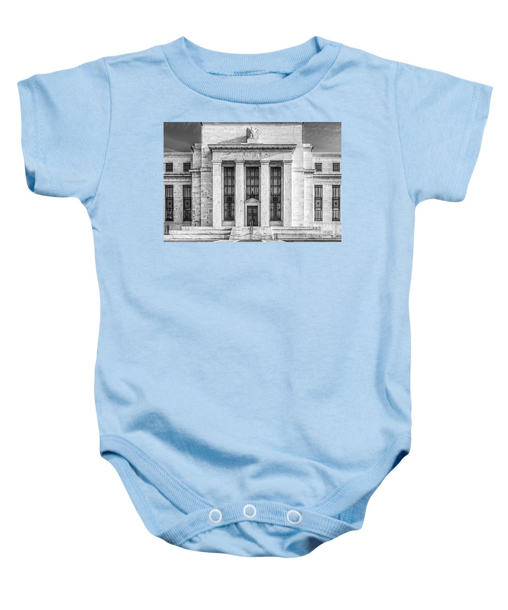 Federal Reserve Baby Onesie featuring the photograph The United States Federal Reserve Bw by Susan Candelario