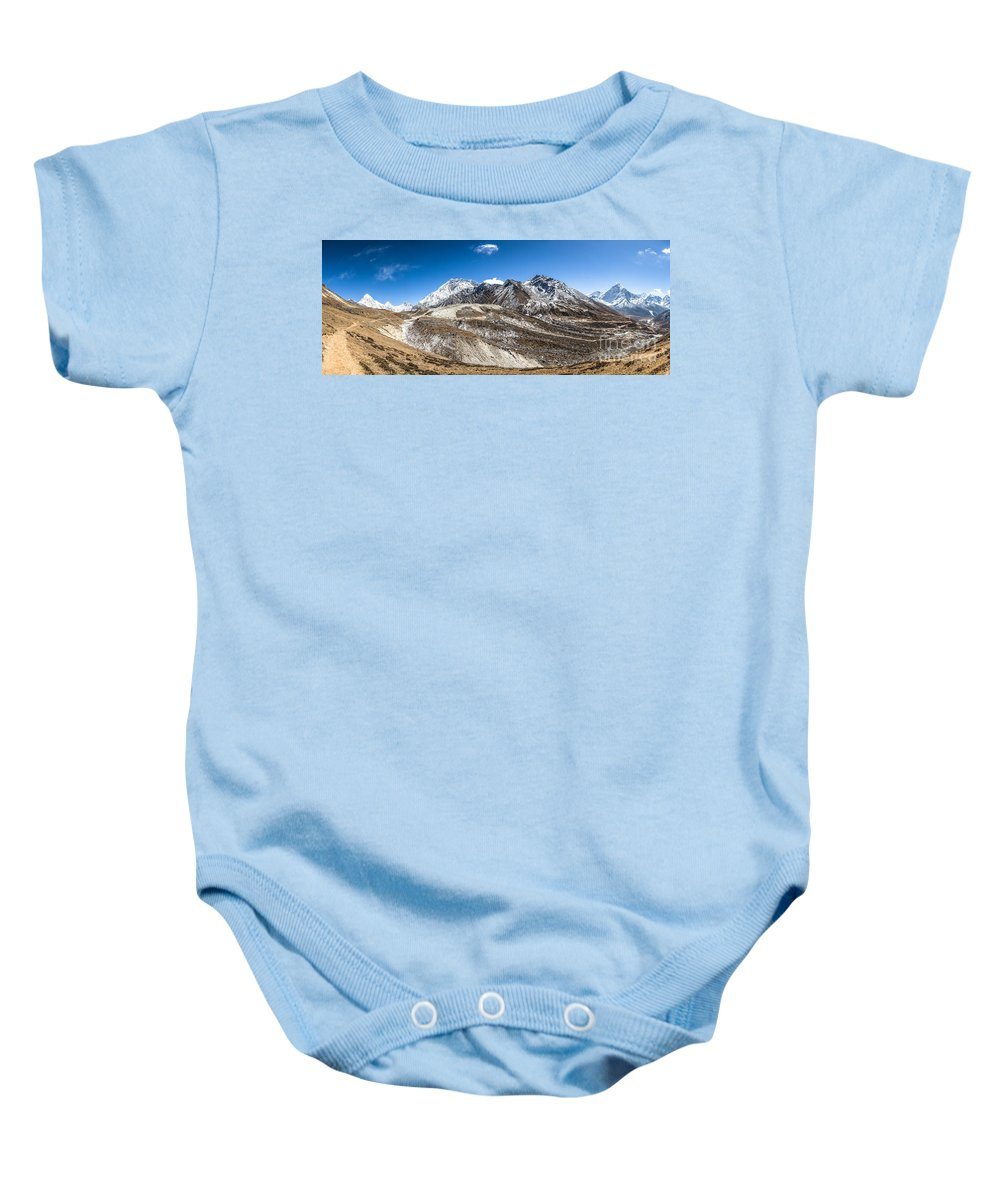 Ama Dablam Baby Onesie featuring the photograph The Valley Leading To Mt Everest In Nepal by Didier Marti