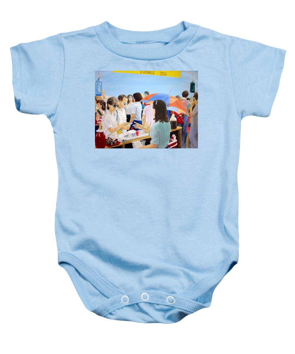 People Baby Onesie featuring the painting The Vendor by Steve Karol