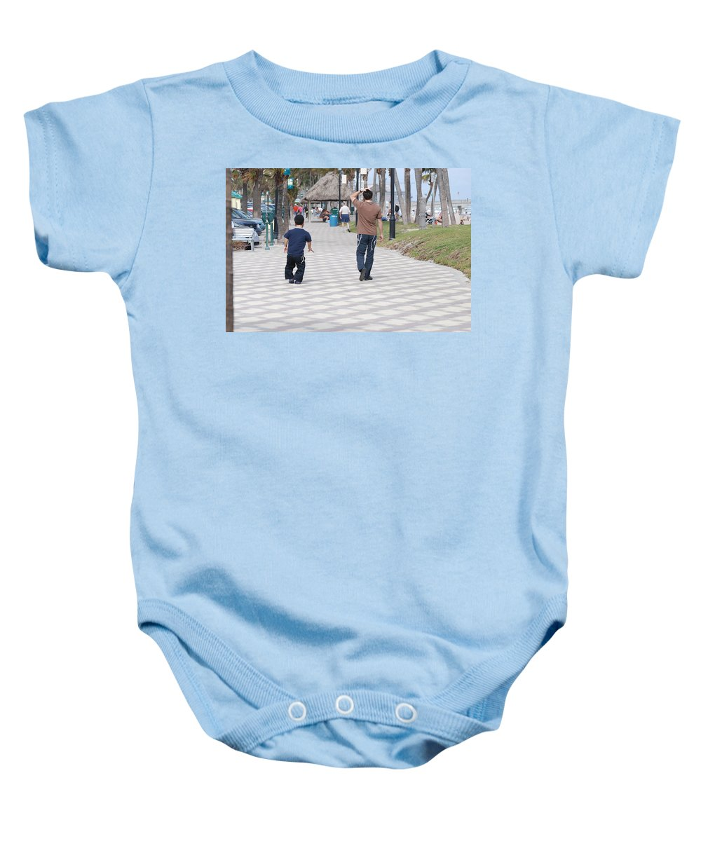 Man Baby Onesie featuring the photograph The Walk by Rob Hans