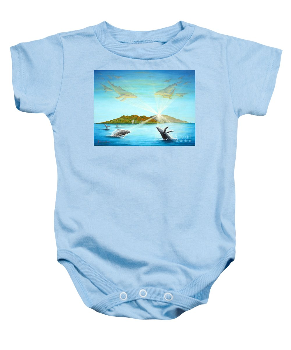 Whales Baby Onesie featuring the painting The Whales Of Maui by Jerome Stumphauzer