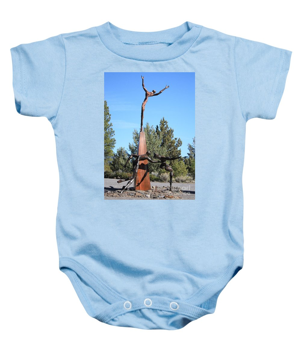 Living Memorial Sculpture Garden Baby Onesie featuring the photograph The Why Group by Carol Groenen