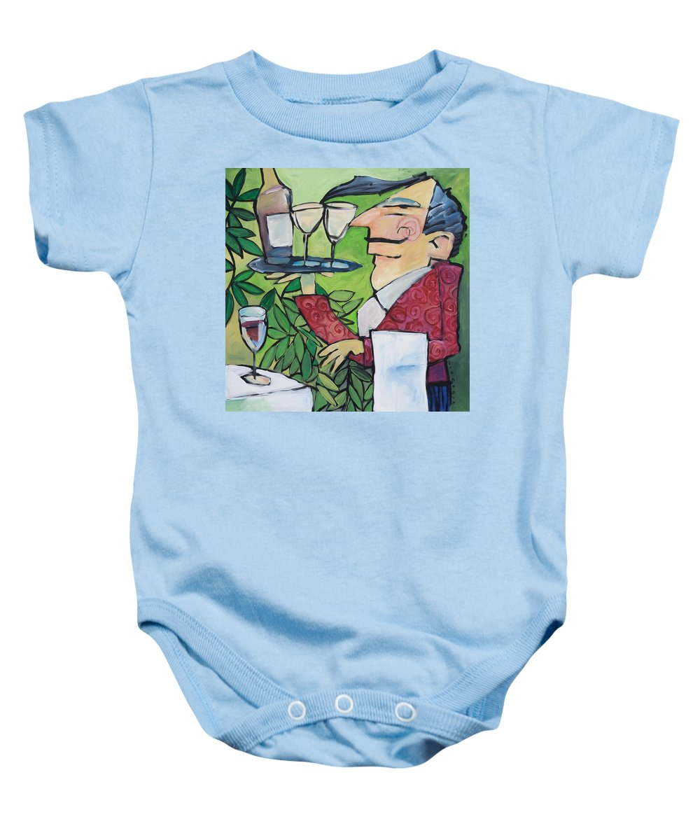 Wine Baby Onesie featuring the painting The Wine Steward by Tim Nyberg