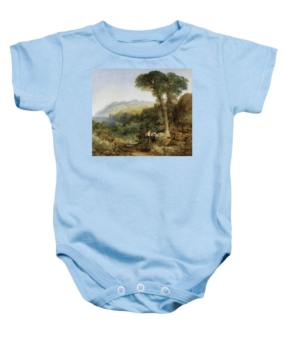Amalfi Coast Baby Onesie featuring the painting Thomas Moran by MotionAge Designs
