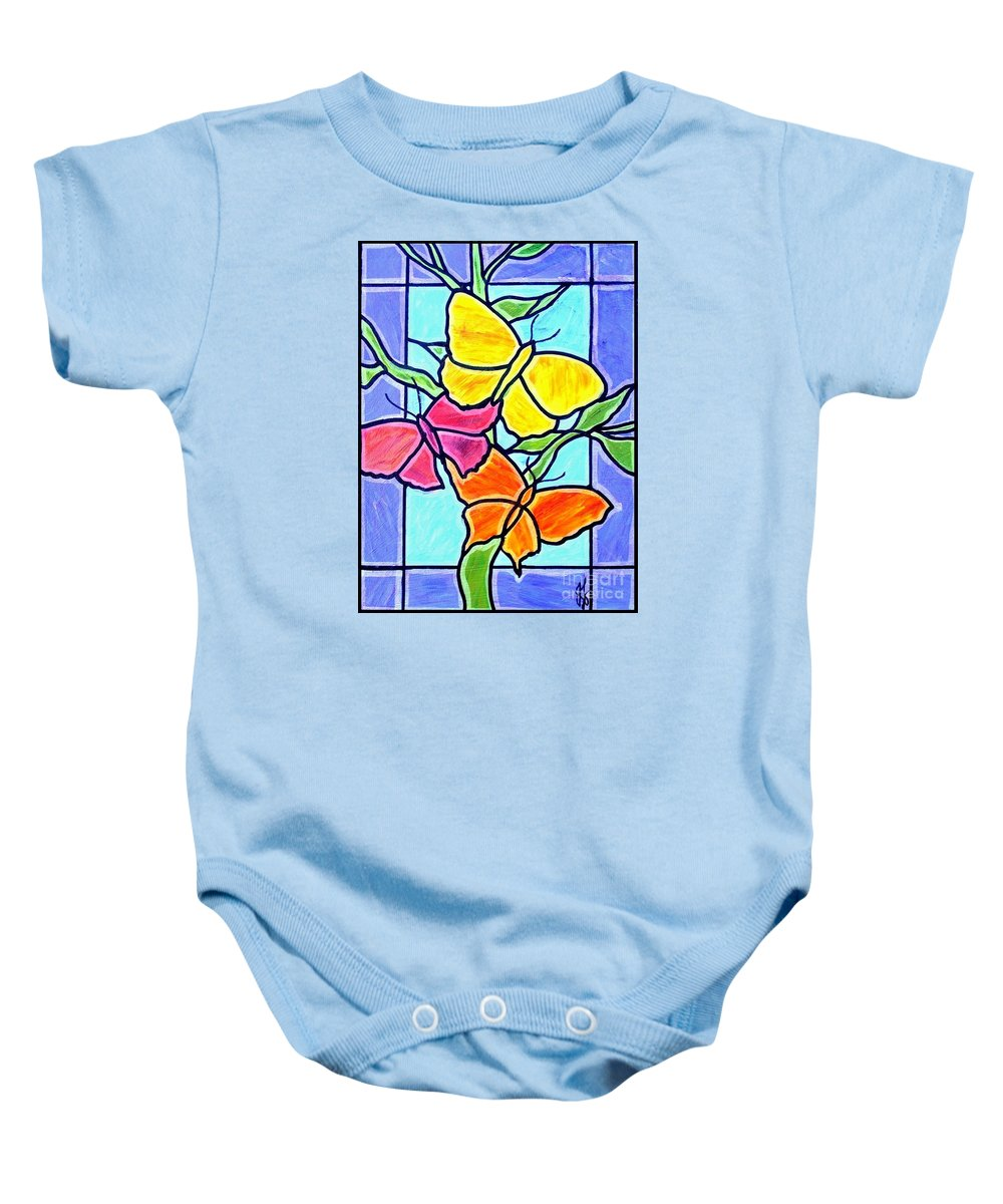 Butterflies Baby Onesie featuring the painting Three Butterflies by Jim Harris