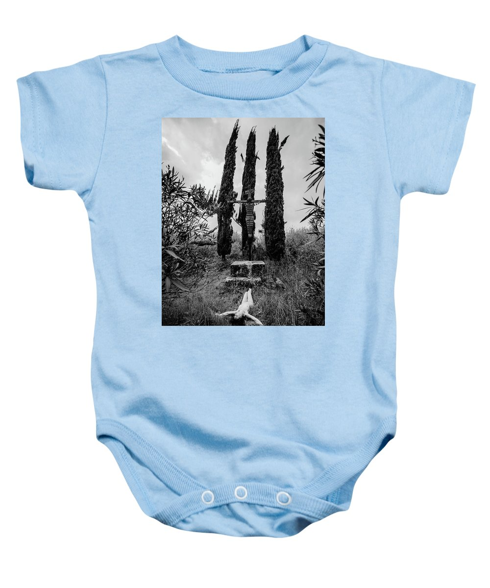 Cypresses Baby Onesie featuring the photograph Three Cypresses by Paolo Del Frate