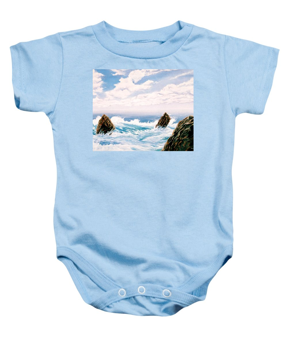 Seascape Baby Onesie featuring the painting Three Rocks by Mark Cawood