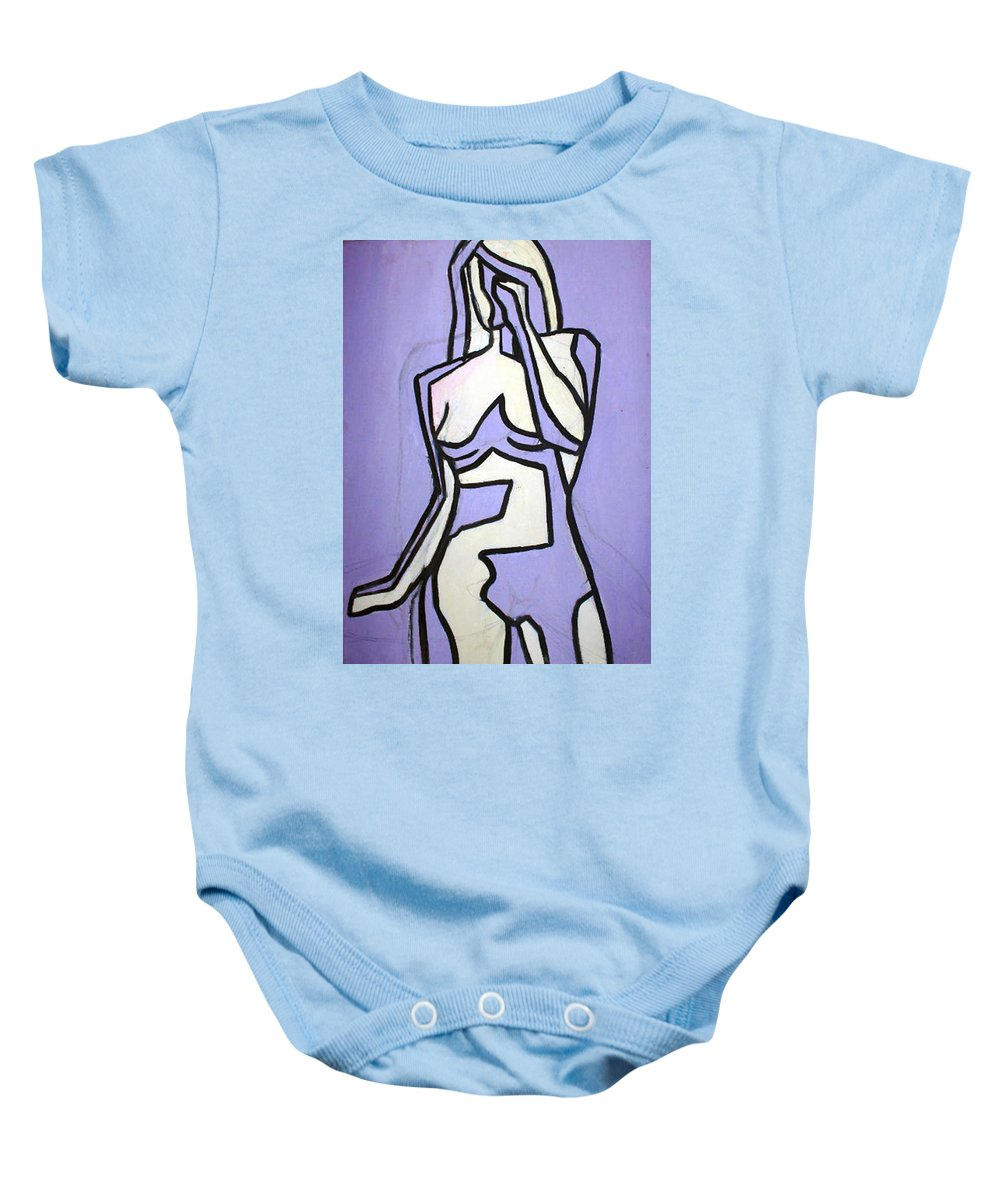 Nudes Baby Onesie featuring the painting Three by Thomas Valentine
