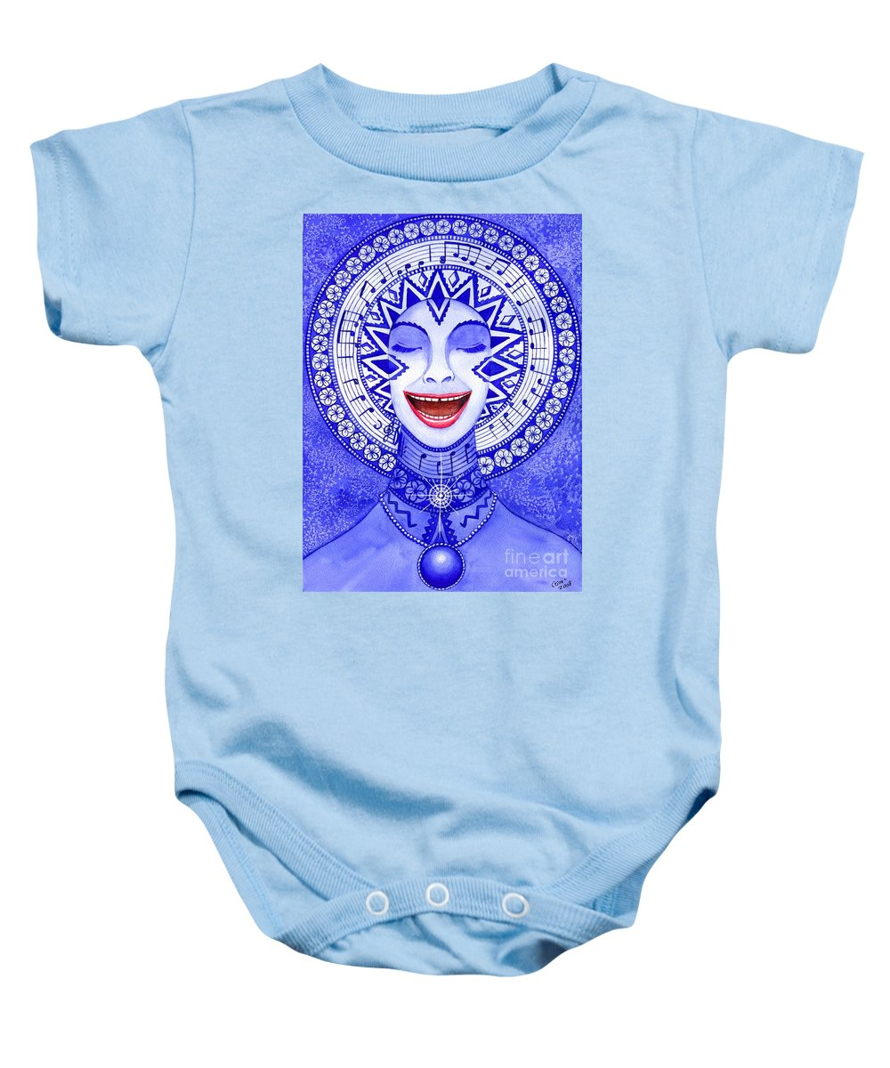 Chakra Baby Onesie featuring the painting Throat Chakra by Catherine G McElroy