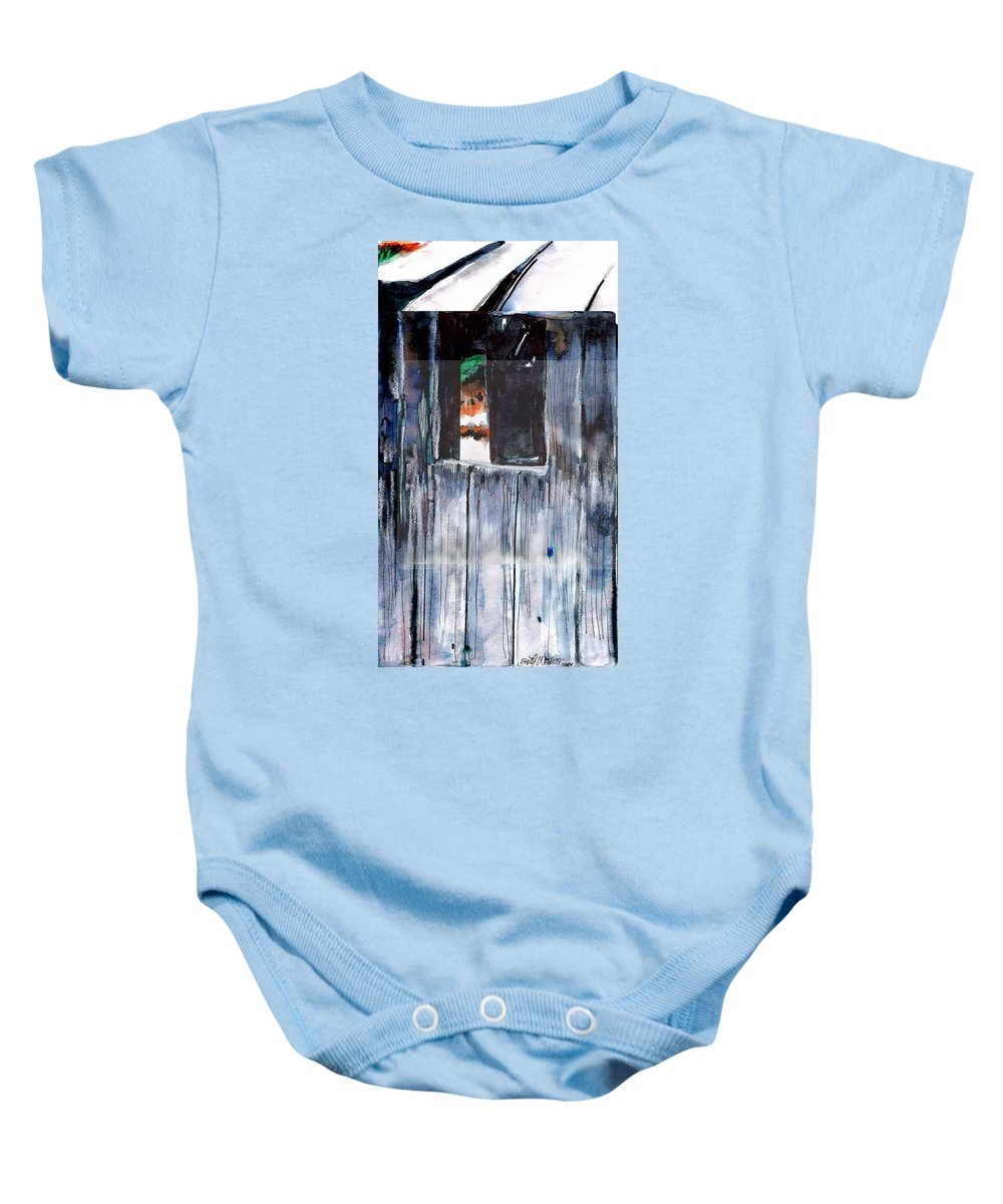 An Old Mysterious Barn With Deep Dark Shadows And Secrets. Rustic And Moody. Baby Onesie featuring the drawing Thru The Barn Window by Seth Weaver