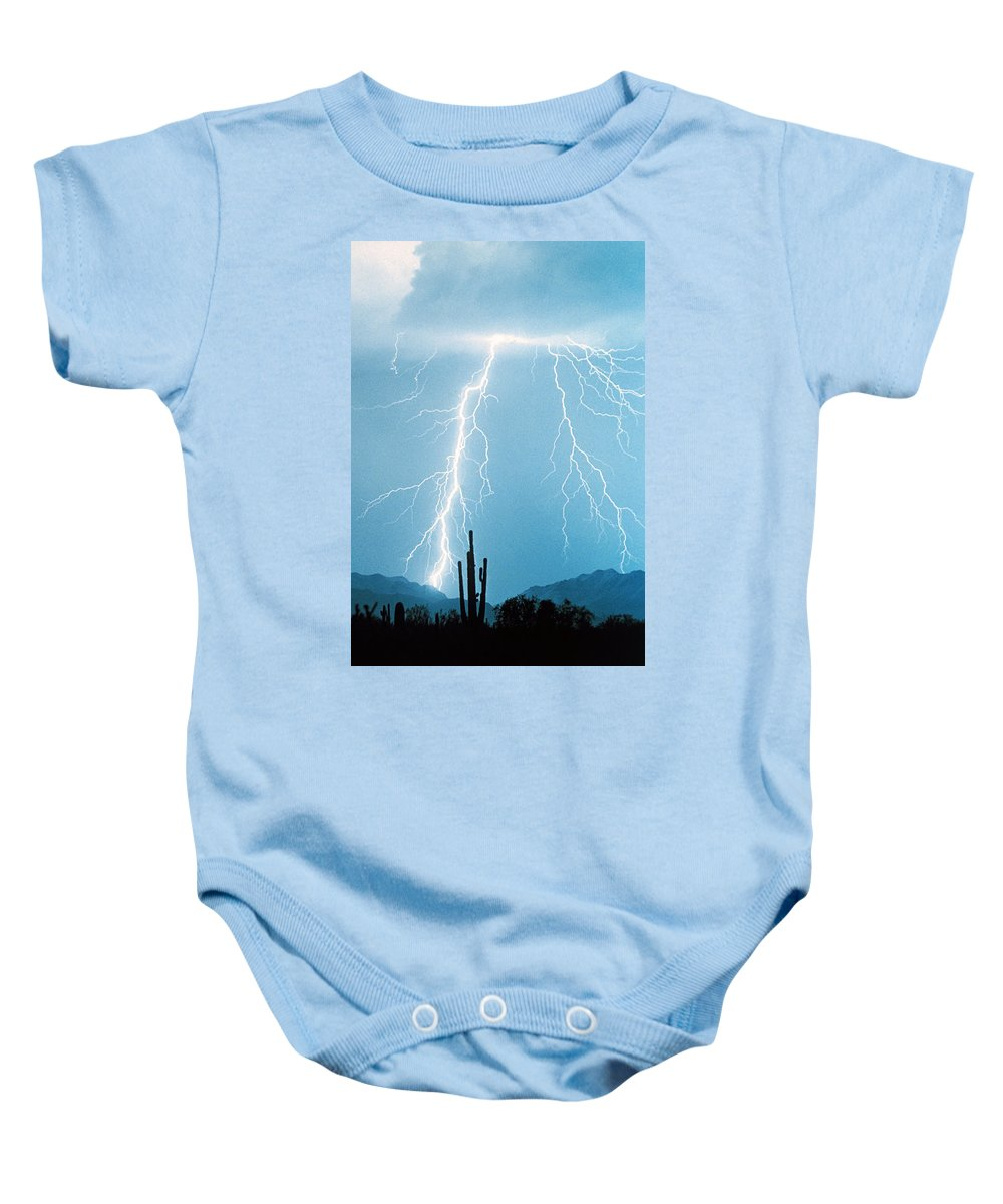 Lightning Baby Onesie featuring the photograph Thunderbolts From Heaven by James BO Insogna