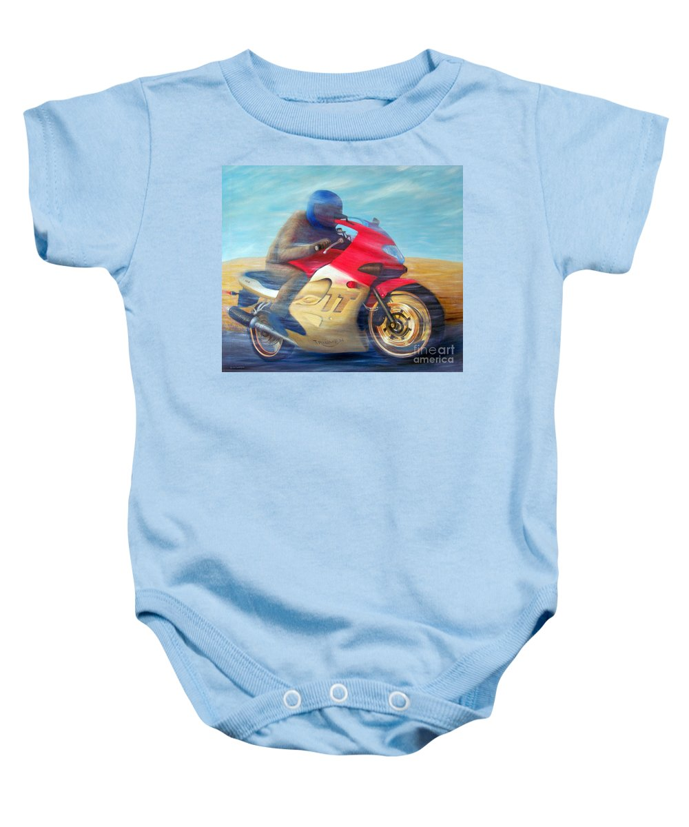 Motorcycle Baby Onesie featuring the painting Time And Space Equation - Triumph 600tt by Brian Commerford