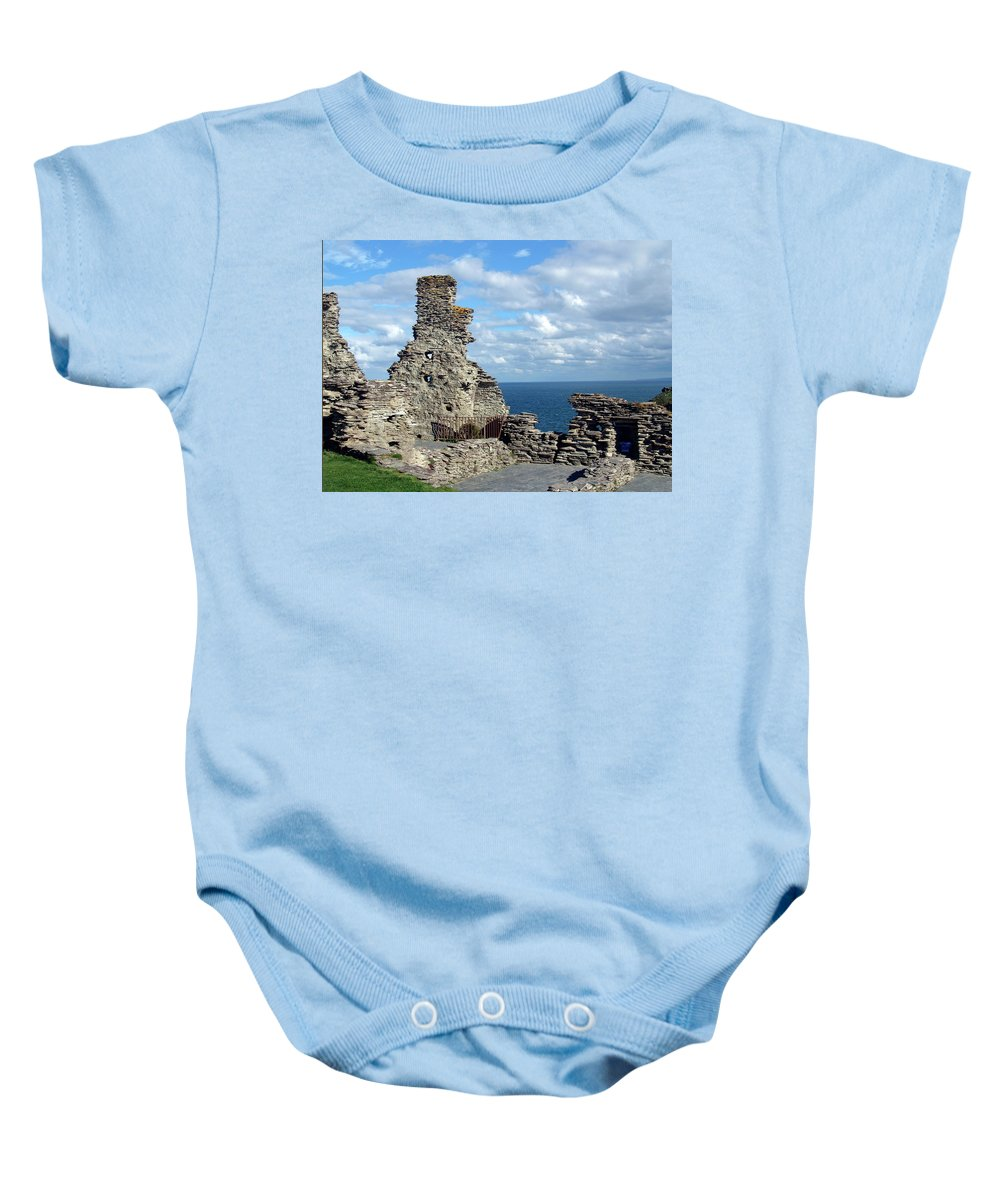 Tintagel Baby Onesie featuring the photograph Tintagel Castle 1 by Kurt Van Wagner