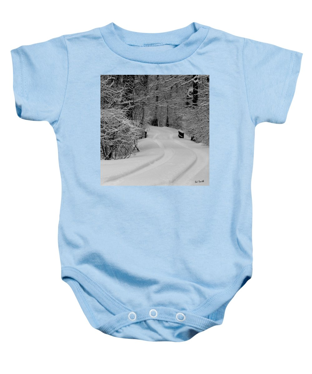 Tire Tracks Baby Onesie featuring the photograph Tire Tracks by Ed Smith