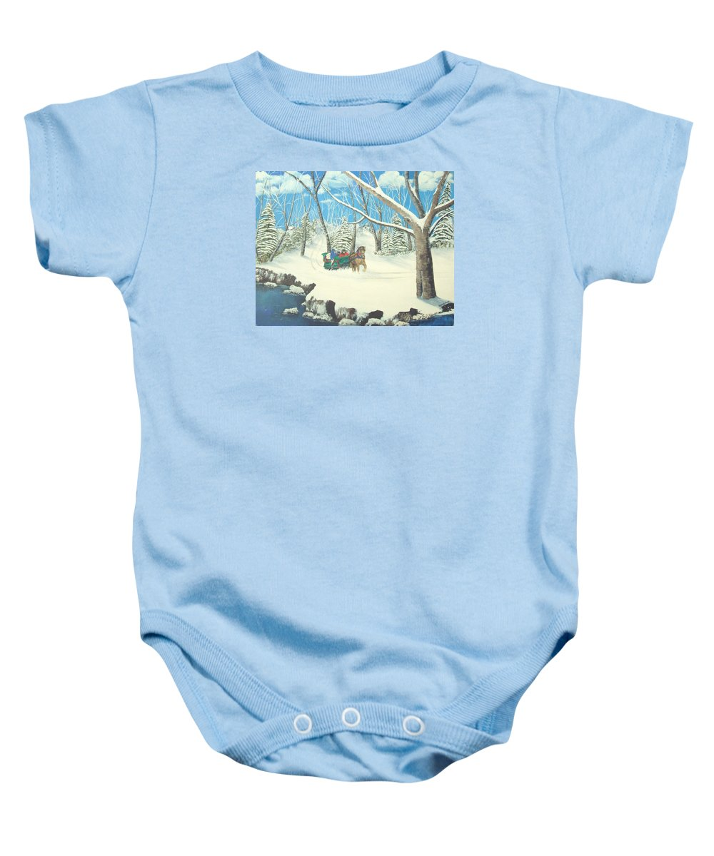 Snow Baby Onesie featuring the painting to Grandmothers House by Brandy House