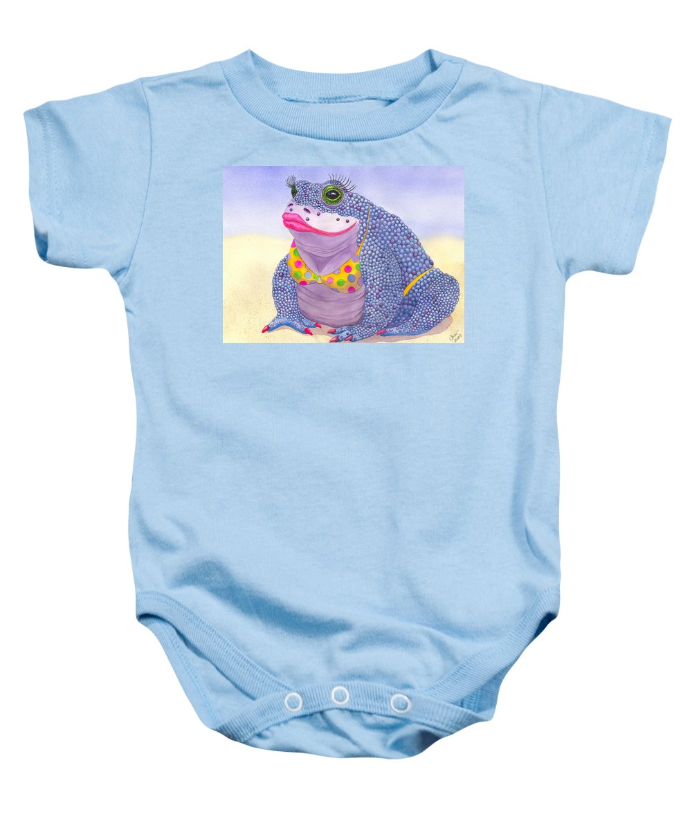 Toad Baby Onesie featuring the painting Toadaly Beautiful by Catherine G McElroy