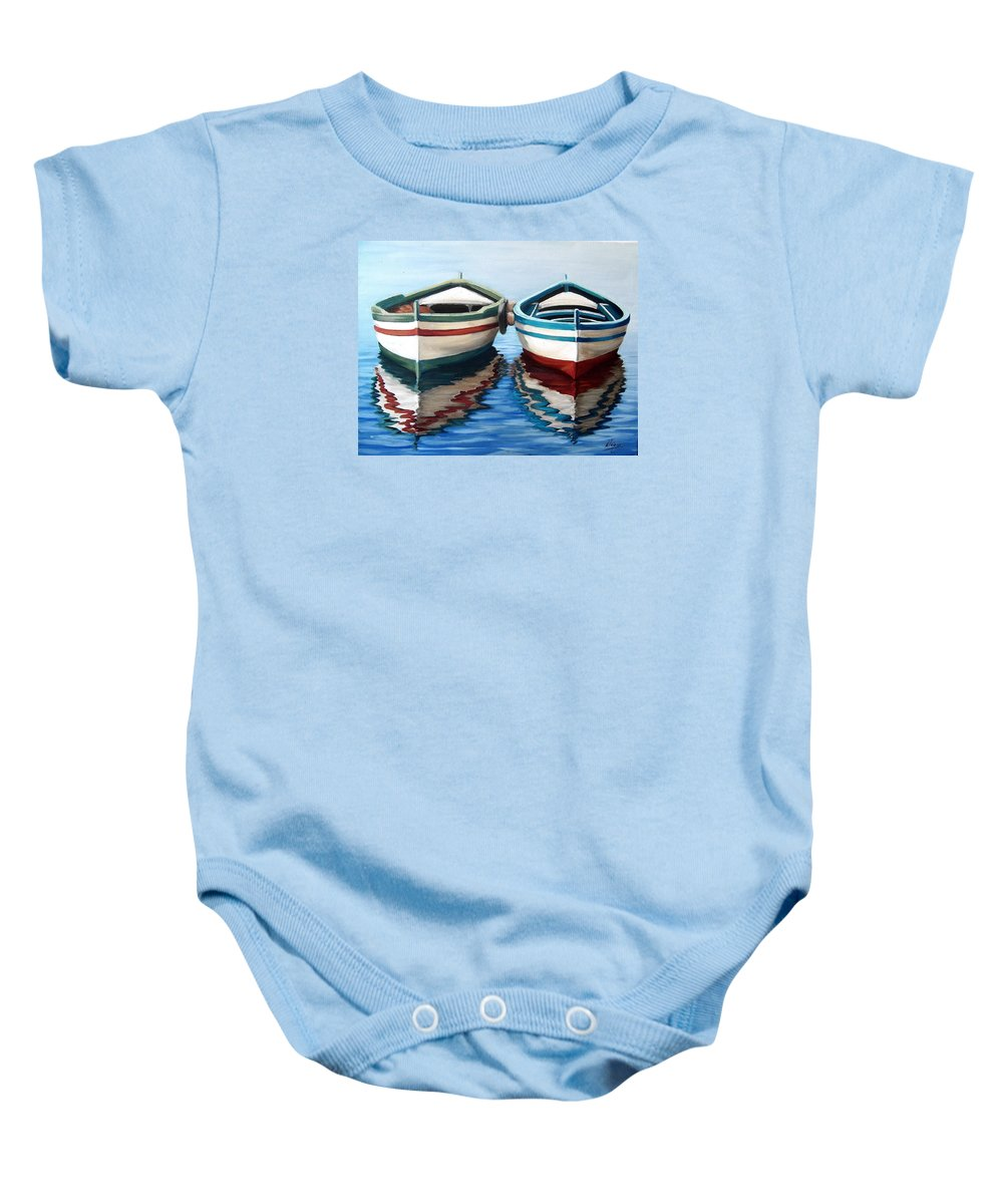 Seascape Sea Boat Reflection Water Ocean Baby Onesie featuring the painting Together by Natalia Tejera