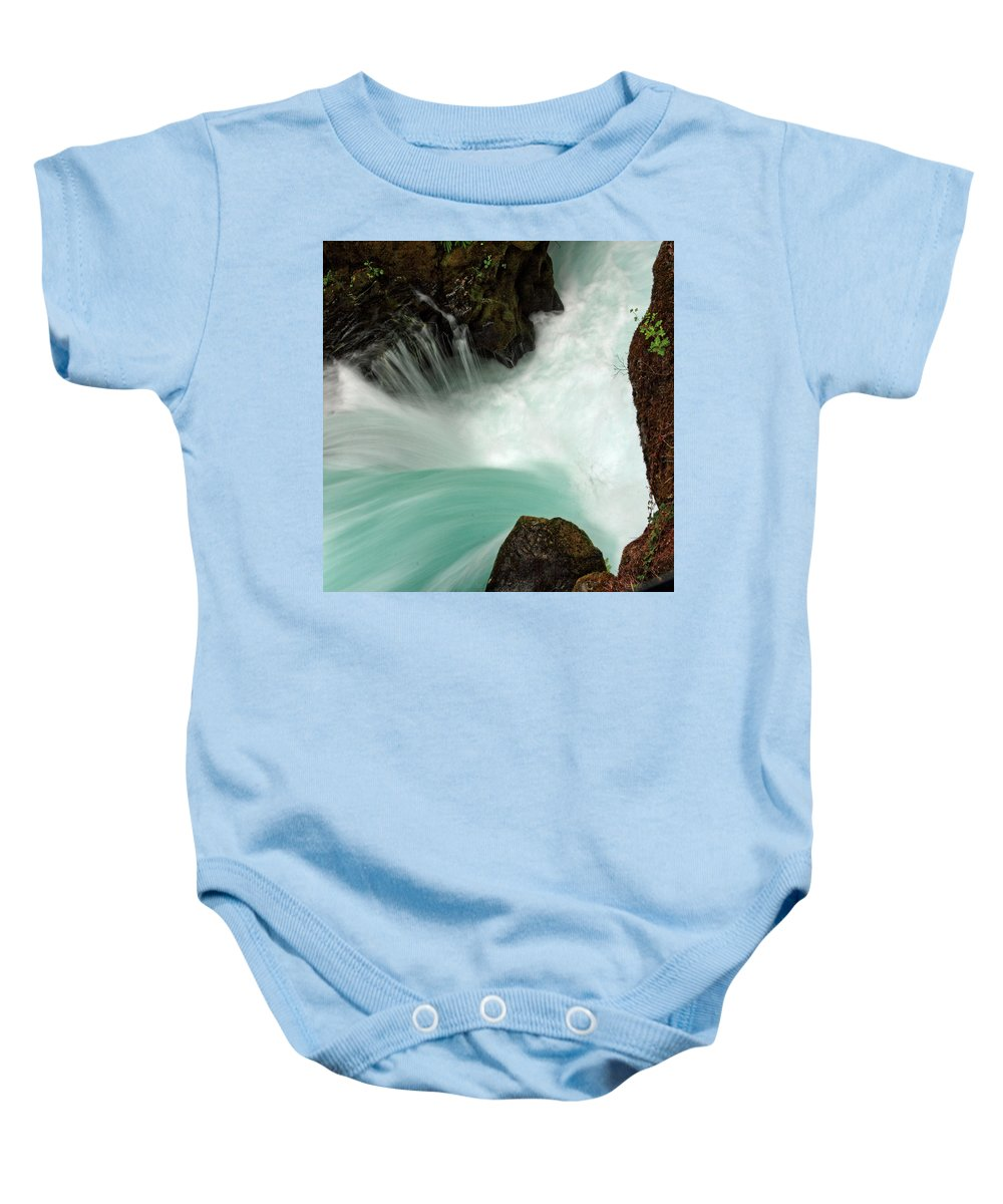 Columbia Gorge Baby Onesie featuring the photograph Toketee Falls 3 by Ingrid Smith-Johnsen