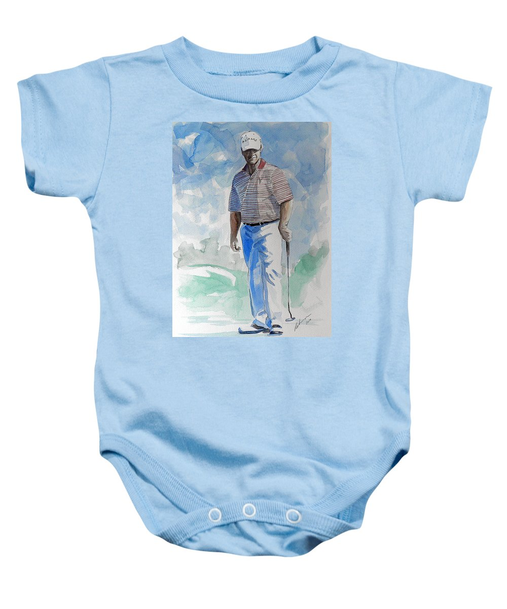 Tom Watson Baby Onesie featuring the painting Tom Watson In Dubai by Mark Robinson
