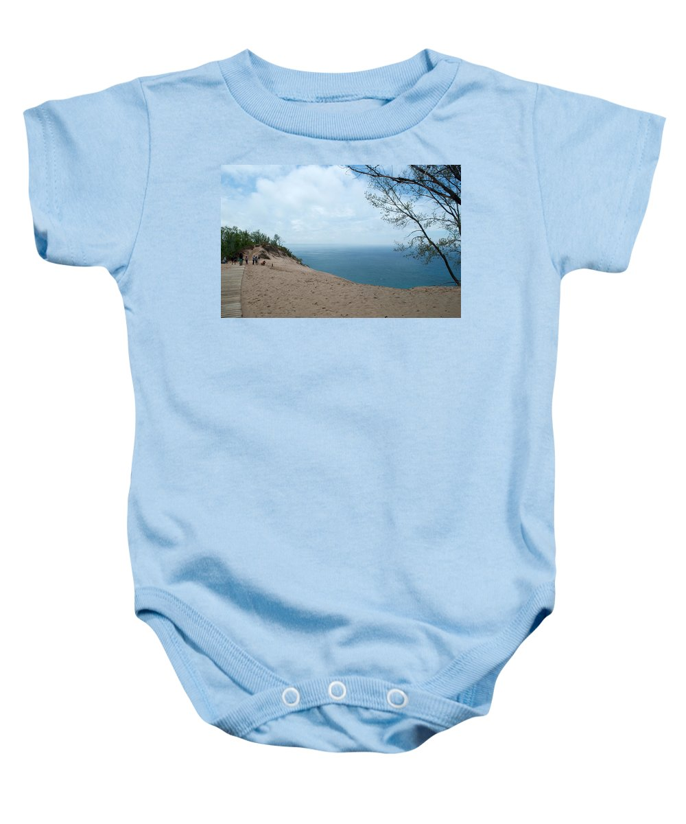 Sleeping Bear Dunes Baby Onesie featuring the photograph Top Side by Linda Kerkau