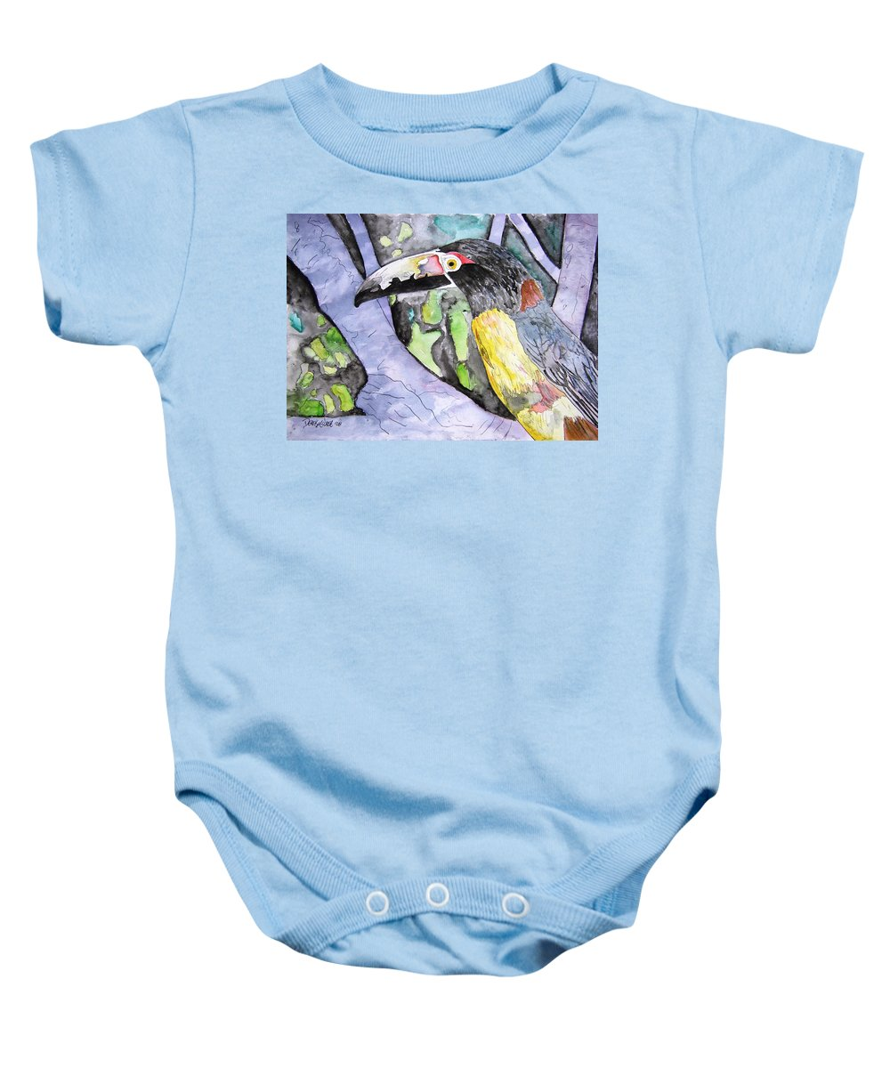 Touccan Baby Onesie featuring the painting Toucan Bird Tropical Painting Fine Modern Art Print by Derek Mccrea