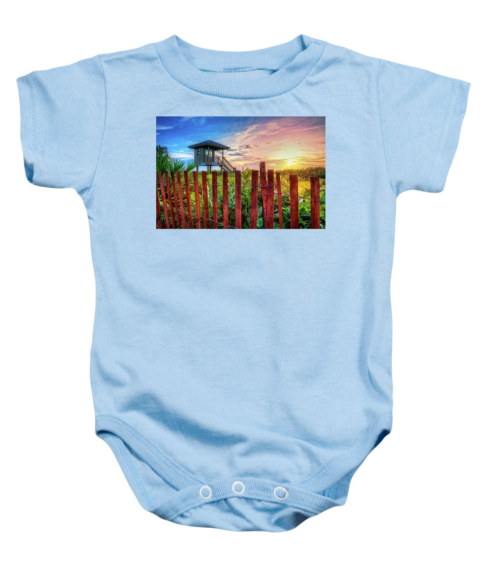 Clouds Baby Onesie featuring the photograph Tower At The Dunes by Debra and Dave Vanderlaan