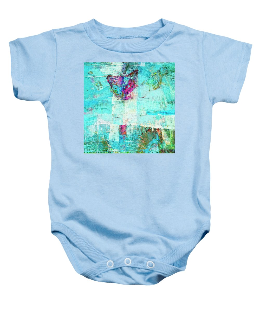 Abstract Baby Onesie featuring the painting Towers by Dominic Piperata