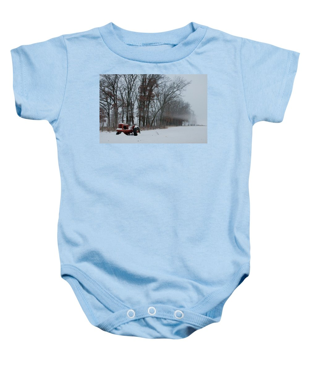 Red Tractor Baby Onesie featuring the photograph Tractor In The Fog by David Arment