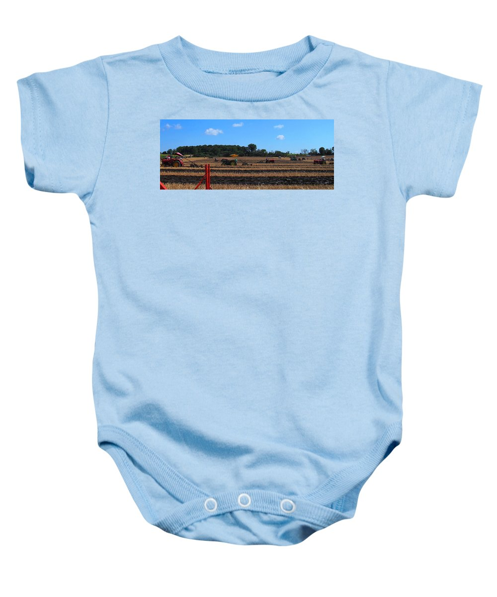 Tractors Baby Onesie featuring the photograph Tractors Competing by Ian MacDonald