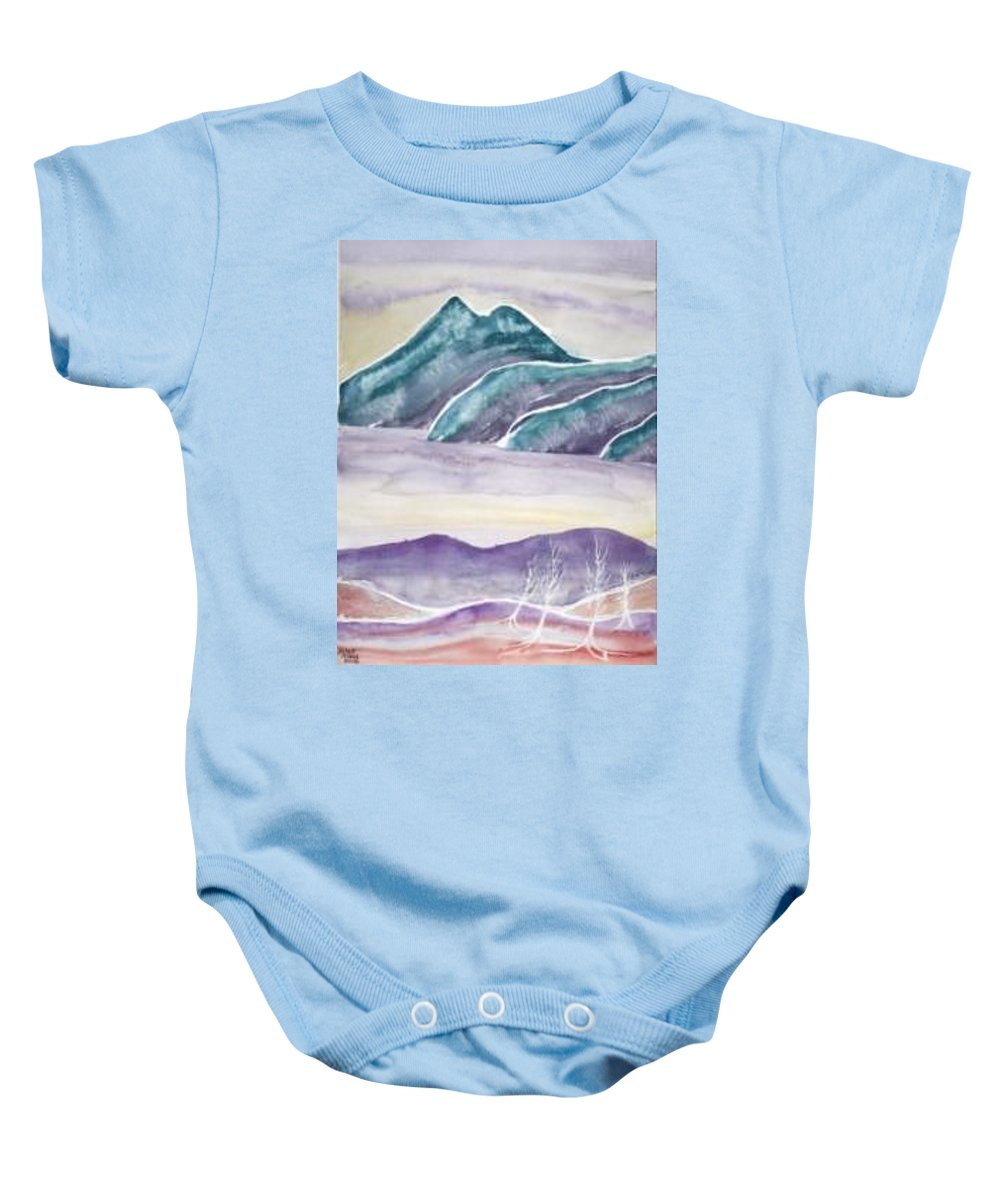 Watercolor Baby Onesie featuring the painting Tranquility Landscape Mountain Surreal Modern Fine Art Print by Derek Mccrea