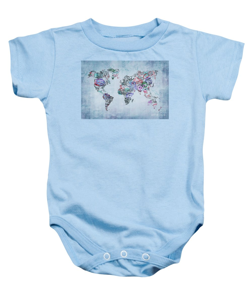 World Map Baby Onesie featuring the photograph Traveler World Map by Delphimages Photo Creations