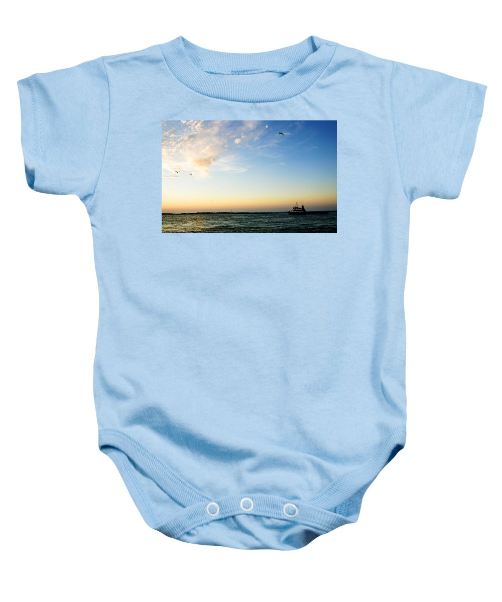 Sip Baby Onesie featuring the photograph Travels At Sunset by Marilyn Hunt