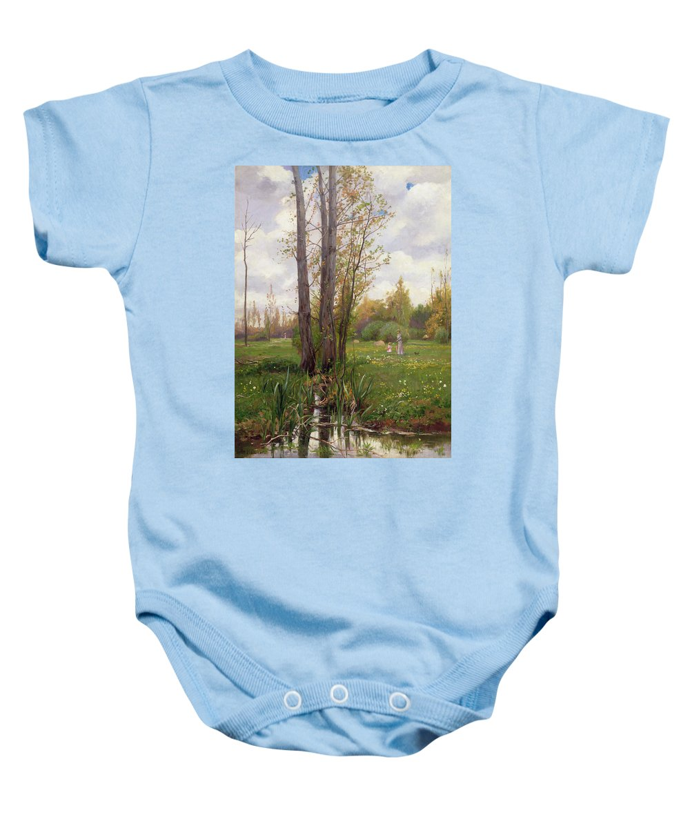 Tree Baby Onesie featuring the painting Tree Beside Water by Ernest Le Villain