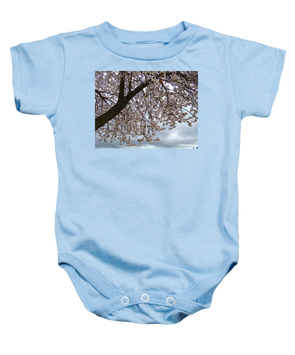 �blossoms Artwork� Baby Onesie featuring the photograph Tree Blossoms Landscape 11 Spring Blossoms Art Prints Giclee Sky Storm Clouds by Baslee Troutman