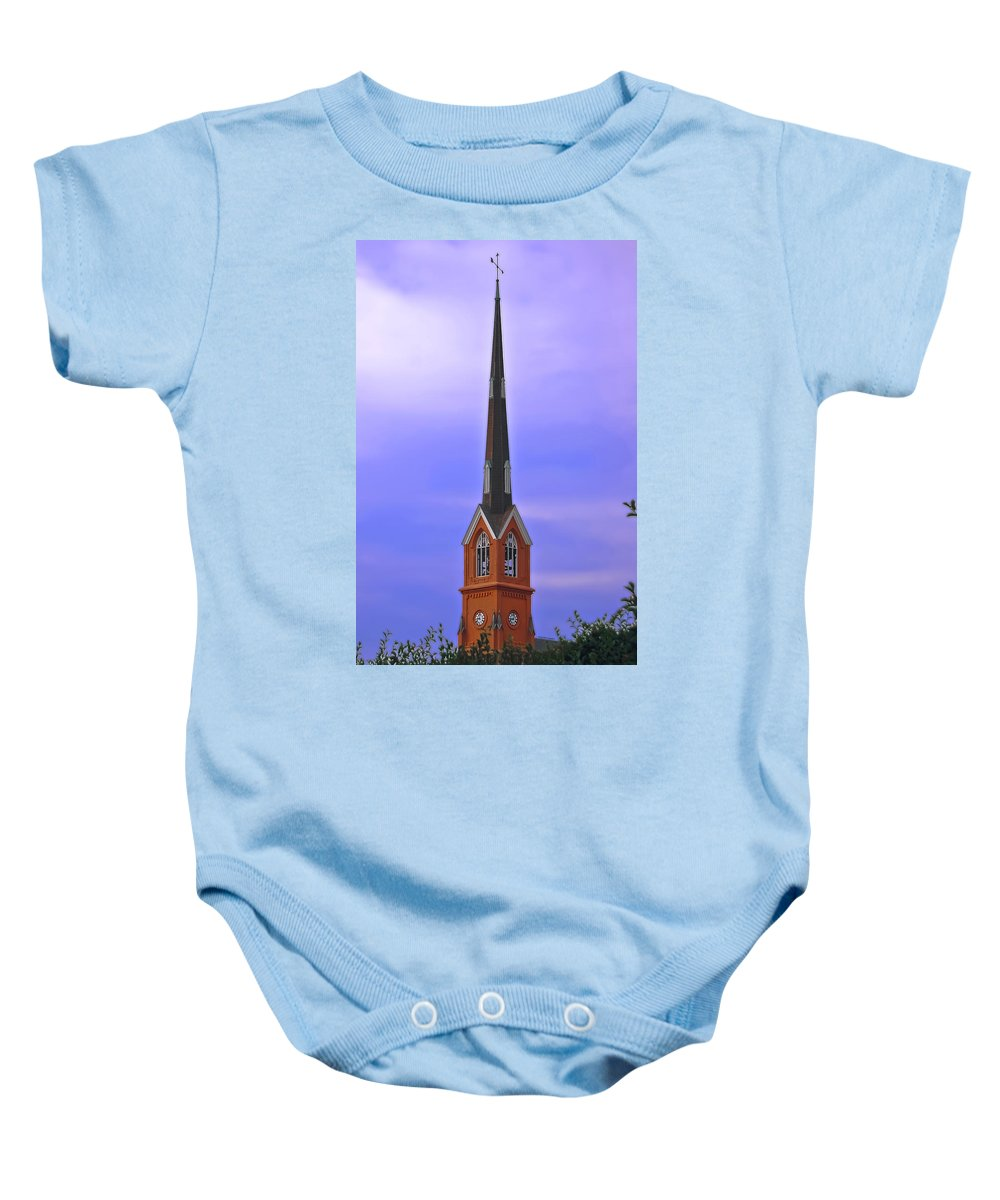 Church Baby Onesie featuring the digital art Tree Top Steeple by DigiArt Diaries by Vicky B Fuller