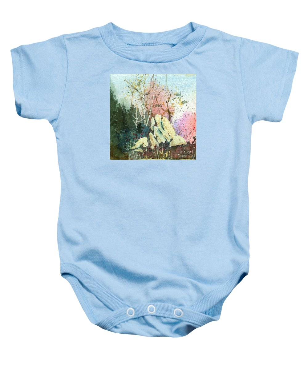 Landscape Baby Onesie featuring the painting Triptych Panel 1 by Lynn Quinn