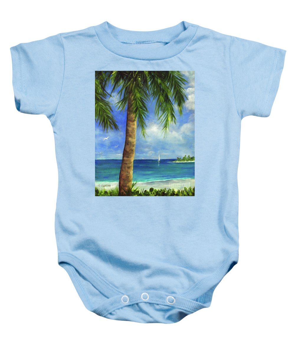 Palm Baby Onesie featuring the painting Tropical Beach One by Carolyn Shireman