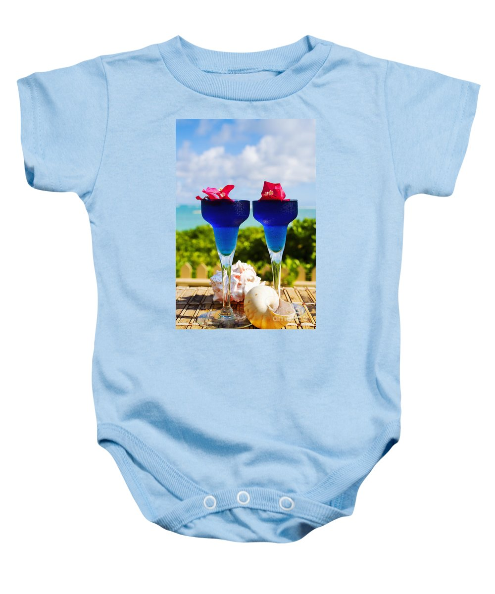 Bar Baby Onesie featuring the photograph Tropical Cocktails by Tomas del Amo - Printscapes