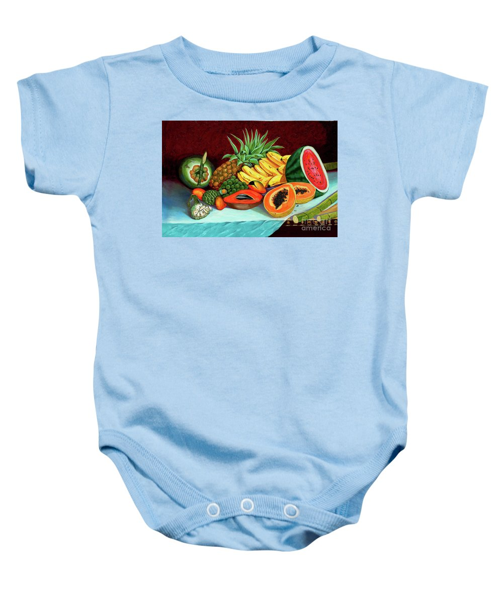 Coconut Baby Onesie featuring the painting Tropical Fruits by Jose Manuel Abraham