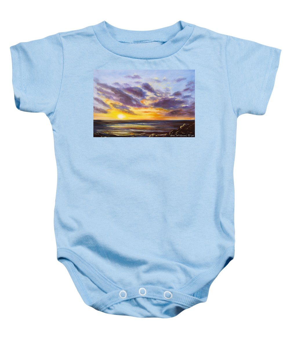 Oil Baby Onesie featuring the painting Tropical Sunset by Gina De Gorna