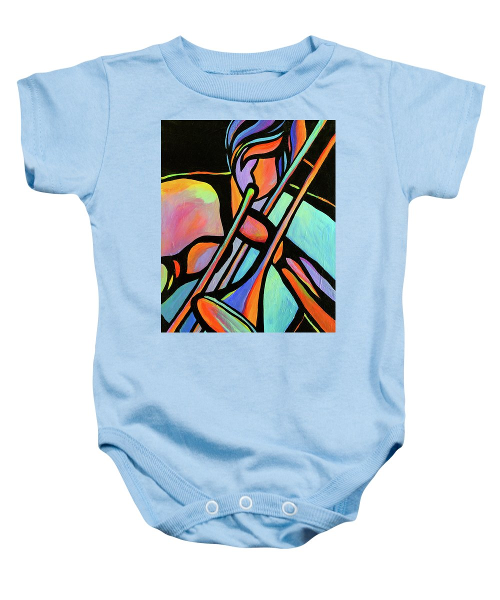 Abstact Music Baby Onesie featuring the painting Trombonist by Mike Daneshi