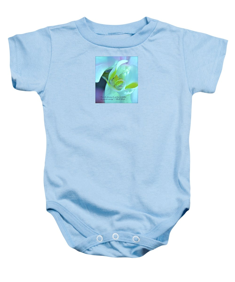 Orchid Baby Onesie featuring the photograph Trust The Dreams by Venetia Featherstone-Witty