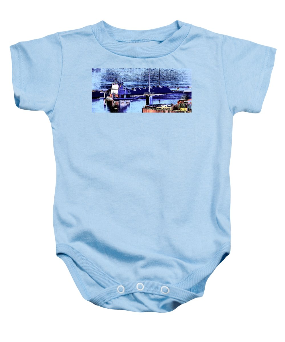Abstract Baby Onesie featuring the photograph Tug Reflections by Rachel Christine Nowicki